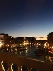 Grand Canal, Venice (m4rguerite) Tags: venice venezia italy italia bridge ponte ponterialto moon canal grandcanal canalview nighttime night dark veniceatnight crescent crescentmoon darksky