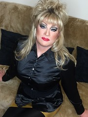 Wishing you all happy new year  Thankyou to all xx (Sissy kaylah) Tags: crossdress crossdressing crossdresser transvestite drag tranny trans trap cd tv wolford blonde satin blouse heavymakeup
