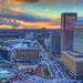 Baltimore skyline sunset (paint filter)
