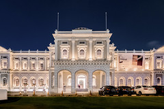 National Museum Singapore at night (thecrapone) Tags: nightphotography glow warm museum longexposure pentaxq7 pentax08wide architecture arch arches classic white building window british bluehour
