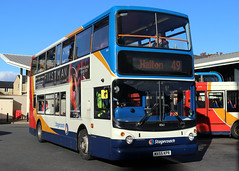 18363 MX55 KPR 49 10-2018 (Cumberland Patriot) Tags: stagecoach north west england cumbria cumberland motor services cms morecambe white lund depot trident adl alexander dennis ltd alx 400 alx400 18363 mx55kpr low floor double decker bus derv diesel engine road vehicle lancaster route service 49