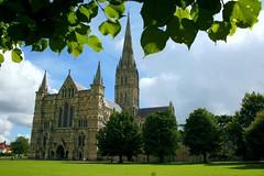 Salisbury Cathedral (Heaven`s Gate (John)) Tags: salisbury salisburycathedral cathedral exreior architecture tree gothic earlyenglish england spire lawn stone johndalkin heavensgatejohn blue sky sunshine 10faves 25faves