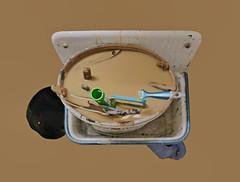 """No Coffee Kein Kaffee - Taken during break of """"Don Karlos"""", backstage at the women`s toilet Pause Don Karlos - auf der Damentoilette (hedbavny) Tags: maler tapezierer theatermaler handwerk mistkübel gieskanne eimer mülleimer farbkübel farbeimer wasser water reinigen säubern auswaschen pinsel brush coffee kaffee kaffeebraun milchkaffee farbe color spülbecken waschbecken toilet toilette wc abort stiel kreis circle rolle blau blue black schwarz red rot green grün weis white holz wood oval stillleben stilllife backstage arbeit work break pause wien vienna austria österreich hedbavny objettrouvé readymade"""