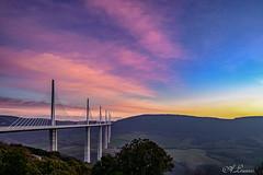 Sunset sur le viaduc de Millau (A.L PH) Tags: millau aveyron poselongue d850 filé viaduc sunset ouvragedart construction