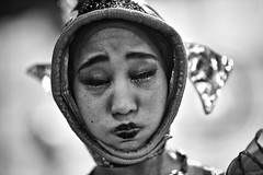 holding her breath (gro57074@bigpond.net.au) Tags: holdingherbreath robotrestaurant d850 nikon 2019 february monotone monochrome mono blackwhite shinjuku japan bw woman portrait guyclift fish face f14 105mmf14 artseries sigma