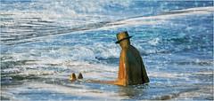 """La mer, ce grand sculpteur"" Jean-Michel Folon, plage de Knokke, q (claude lina) Tags: claudelina belgium belgique belgië knokke merdunord noordzee plage sable beach cabines lamercegrandsculpteur statue sculpture oeuvre art jeanmichelfolon"