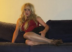 Staying in... (Irene Nyman) Tags: irenenyman dutch crossdress crossdresser irene nyman tranny tgirl transgirl stilettoes pumps skirt legs blueeyes cutie babe blonde xdresser mtf tights pantyhose belt transvestite cute holland highheels miniskirt makeup portrait travestiet travestie xdress cd tv pleatedskirt couch bench