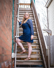 Stairs (joshhansenmillenium) Tags: canon6d 6d canon photography modelling sunset kentucky ludlow freelance model street bw contrast clouds sky spring portrait