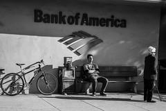 People on the Sidewalk (Eric Bloecher) Tags: blackandwhite black white bw streetphotography street pavement sidwalk people bench woman man bicycle bank blackwhite blackwhitephotos