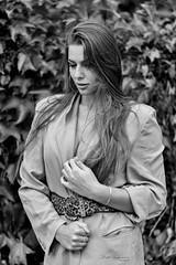 Autumn in B&W (piotr_szymanek) Tags: kornelia korneliaw blackandwhite woman yopung skinny face longhair portrait outdoor dress hand 1k 20f 5k 50f 10k 100f 20k 30k