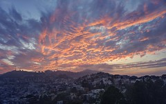 Fiery sky over San Francisco (PeterThoeny) Tags: sanfrancisco california usa westcoast sutrotower tower city houses hill sky cloud cloudy sunset cityscape landscape outdoor sony a6000 selp1650 3xp raw photomatix hdr qualityhdr qualityhdrphotography fav200