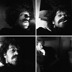 1976: angry young self (doc(q)man) Tags: angryyoungman self portrait collage square contrast light dark monochrome bw blackandwhite man old 1970s seventies quartet four docman angle selfportrait young