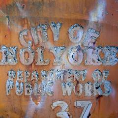 Public Works (jtr27) Tags: dscf2987xl jtr27 fuji fujifilm xt20 xtrans vivitar komine 55mm f28 macro manualfocus holyoke department publicworks old truck peelingpaint patina oldtruck junkyard maine newengland orange typography decay