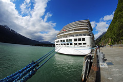 Carnival Legend. Skagway, Alaska. (Infinity & Beyond Photography: Kev Cook) Tags: carnival legend cruise lines ship cruiseship dock port water bay mountains ropes skagway alaska samyang 8mm fisheye