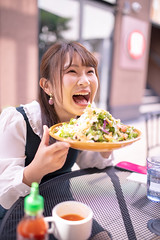 Happy young woman eating salad at open cafe (Apricot Cafe) Tags: ap2a0369 asia asianandindianethnicities cafe japan japaneseethnicity positiveemotion shibuyaward sigma35mmf14dghsmart tokyojapan autumn bright capitalcities carefree casualclothing charming citylife colorimage day dish eating enjoyment foodanddrink happiness harajukudistrict holding leisureactivity lifestyles lunch mouthopen oneperson oneyoungwomanonly outdoors people photography realpeople restaurant salad sitting smiling street student sustainablelifestyle universitystudent waistup women youngadult