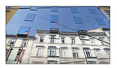 a house in a house (christikren) Tags: austria architecture architektur building christikren reflections reflets windows graz house facade spiegelung glass buildings colorful