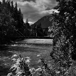 Bridge Over the Stehekin River (Black & White, North Cascades National Park Service Complex) thumbnail