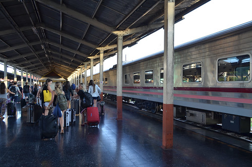 The overnight train from Bangkok on arrival at Chiang Mai station.