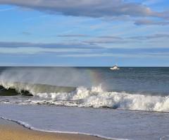 Rainbow for the Coast Guard (lauren3838 photography) Tags: sand atlanticocean atlantic seaside coastguard boat rainbow ocean waves surf beach jerseyshore jersey newjersey nj nikon d750 tamron tamron2875mm28