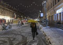 Evening in Kiev. (jurkoff1) Tags: evening snow outside umbrella girl nikon nikond850 d850 kyiv ukraine europe