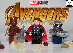 Infinity War - Thor, Rocket and Groot (HaphazardPanda) Tags: lego figs fig figures figure minifigs minifig minifigures minifigure purist purists character characters films film movie movies tv show shows toy the avengers avenger gotg thor stormbreaker groot i am thanos rocket racoon wakanda battle infinity war