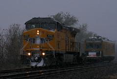 Test Car in the Snow (Jeff Carlson_82) Tags: up uprr ks ec5 emd sd70m kansassub grantville ge ac4400cw 6765 snow testcar plasser t railroad railfan railway mow winter repainted wings
