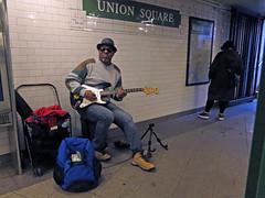 Blues At Union Square (Multielvi) Tags: new york city ny nyc manhattan union square subway station man guitar street performer music