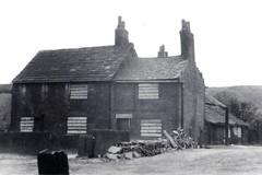 Lomax Brow Farm {iii} (Landstrider1691) Tags: farm middlehulton farmhouse middlehultonlancashire old historic 19thcentury oldphotos oldphotographs oldbuildings 1959 1950s bicycle boardedupwindows chimneystack