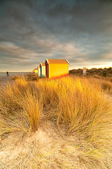 last light on the Dunes (donnnnnny) Tags: findhorn beachhuts beach sanddunes grass morayshire morayfirth