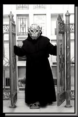 Paradox First Time Out (PhotoJester40) Tags: indoors inside mausoleum mask costume bnw blacknwhite blackandwhite bw blackwhite noirblanc monster gargoyle amdphotographer cloak paradox