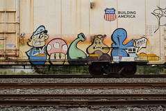 POLAR (TheGraffitiHunters) Tags: graffiti graff spray paint street art colorful benching benched freight train tracks reefer polar