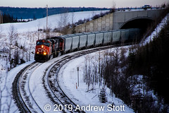 Out of the tunnel (awstott) Tags: emd 2273 sd75i canadiannationalrailway es44dc cnr canada train alberta cn locomotive 5677 generalelectric electromotivedivision ge yellowheadcounty ca