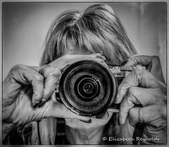 Day 19. (lizzieisdizzy) Tags: blackandwhite blackwhite black whiteandblack white whiteblack reflection reflections reflective reflect mirror camera olympusomdmk2 selfie portrait hands