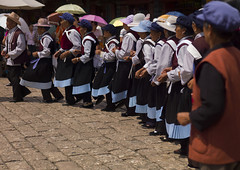 Naxi Minority Women Dancing, Lijiang, Yunnan Province, China (Eric Lafforgue) Tags: a0007635 adultsonly asia china colorpicture costume dayantown fulllenght groupofpeople horizontal naxi realpeople togetherness unescoworldheritagesite yunnan yunnanprovince lijiang