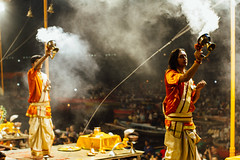 Men Performing Aarti, Varanasi India (AdamCohn) Tags: adam cohn ganga ganges india uttarpradesh varanasi aarti ceremony fire ghat night smoke streetphotographer streetphotography wwwadamcohncom adamcohn