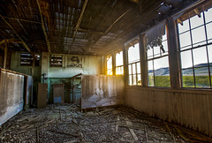 Looks like school is out of session (Photos_by_Tim) Tags: haunted ghost abandoned school schoolhouse ghosttown decay sun windows brokenglass vividstriking