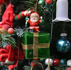 Ho Ho Ho! (BKHagar *Kim*) Tags: bkhagar vintage christmas ornament ornaments elf woodengarland santa package present