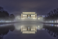 Abe was in a bit of a Fog this morning! (D. Scott McLeod) Tags: washingtondc dscottmcleod scottmcleod dc districtofcolumbia lincolnmemorial bluehour reflection fog lincolnmemorialreflectingpool reflectingpool
