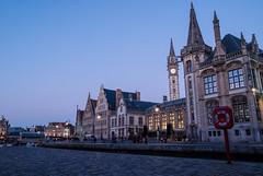 Graslei Ghent (dressk) Tags: ghent gent gand belgique belgium belgië europe city water canal street house architecture nikon d40x nikond40x flanders vlaanderen flandres bluehour blue hour
