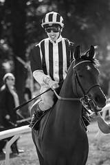 Striped (Tom Levold (www.levold.de/photosphere)) Tags: afsvrzoomnikkor70300 cologne d700 köln nikon race racetrack rennbahn bw sw people jockey horse pferd