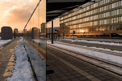 Reflected world (maciej_urbanowicz) Tags: red sun orange snow winter urban streetphotography streetphoto wideview panorama reflections mirror city reflection lodz łódź