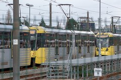 Metrolink 3055 (Mike McNiven) Tags: manchester metrolink tram metro lightrail lrv oldtrafford trafford depot rail