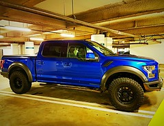 Shiny blue Ford F-150 Raptor pickup truck (walneylad) Tags: pickup truck shiny blue new parked underground pacificcentre parkade vancouver britishcolumbia canada ford f150 raptor