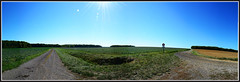 pano two way (benoit_bouhier) Tags: panoramic panoramique nature wild champs chemin fields sun