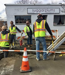 Are These The Sugarplum Fairies? (Wires In The Walls) Tags: utility worker hardhat newrochelle newyork winter 2018 suggarplums northavenue roadcone digging asphalt cement shovel contractor jfletchercreamer safetyyellow