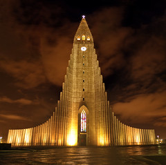 Hallgrímskirkja at Night (elektron9) Tags: iceland island northatlantic tourism atlantic cold winter december icelanddecember travel trip driving landmark tourist wow sightseeing hallgrímskirkja church icelandicchurch dramaticclouds stars red stainedglass beautiful architecture viewpoint mystopover stopover