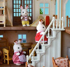 Going Upstairs (linda_lou2) Tags: 365the2019edition 3652019 day10365 10jan19 odc stepsorstairs 10365 bunny rabbit toy countrycottage house stairs steps calicocritters
