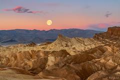 Zabriskie Point Sunrise and Moonset (robert_golub) Tags: wolf mountains wolfmoon moonset moon sunrise zabriskiepoint deathvalley