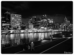Yarra River at Night (Bob Shrader) Tags: olympuspenf olympusmzuikodigitaled12100mmf40ispro f4 16sec 1600iso raw microfourthirds mft m43 mirrorless oceania australia victoria melbourne nature water river yarrariver night building hotel clarionsuitesgateway blackandwhite monochrome lowkey photoborder photoedge photoframe postprocessing on1 photoraw2019 preset luts amidol aus city skyline