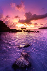 Tropical Summer Evenings in Thailand (Tim Miley) Tags: tropical sunset sunrise thailand beach color colorful nature purple clouds ocean sea rocks waves silhouette glow